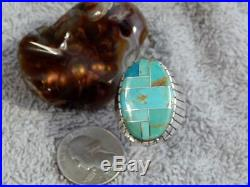 New Mens Sterling Kingman Turquoise Inlay Ring Navajo Ray Jack Size 12 1/4
