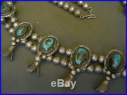 OLD Bisbee turquoise sterling silver squashblossom necklace wt 191 grms NICE