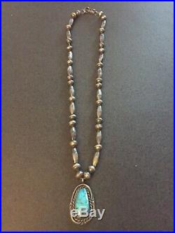 OLD NAVAJO STERLING SILVER BEAD NECKLACE With TURQUOISE PENDANTS