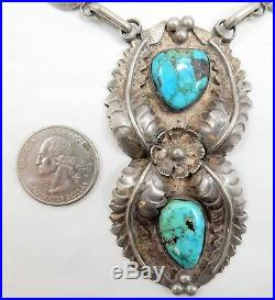 OLD PAWN Sterling Silver Feather Squash Blossom with Turquoise, 68 grams, PW6