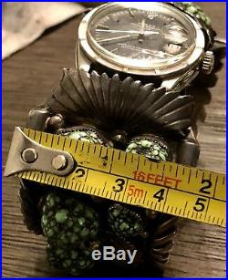 OOAK Old Pawn Watch Cuff & Buckle Set WithEXTINCT Carico Lake Turquoise REAL ROLEX