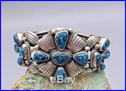 OUTSTANDING! LANDER BLUE Turquoise & Sterling Silver Cluster Bracelet -Certified