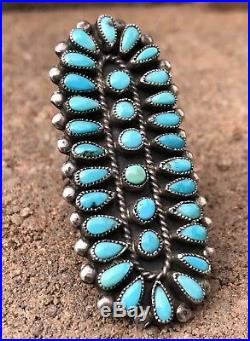 Old 2 1/4 Navajo Sterling Silver & Turquoise Petit Point Cluster Ring J M Begay
