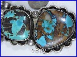 Old NAVAJO SQUASH BLOSSOM Natural BOULDER TURQUOISE STERLING Silver 116G 16