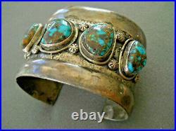Old Native American Navajo High-Grade Bisbee Turquoise Sterling Silver Bracelet