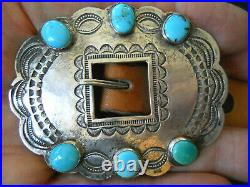 Old Native American Turquoise Sterling Silver Repousse Stamped Concho Belt