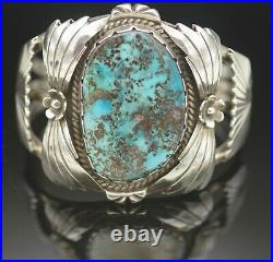Old Pawn Ben Shiley Navajo Large Turquoise And Sterling Silver Cuff Bracelet