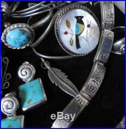 Old Pawn Native American Zuni Navajo Turquoise Cuff Bracelet Ring STERLING Lot