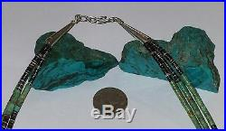 Old Pawn Navajo 3 Strand Kingman Turquoise & Sterling Silver Heishi Necklace24