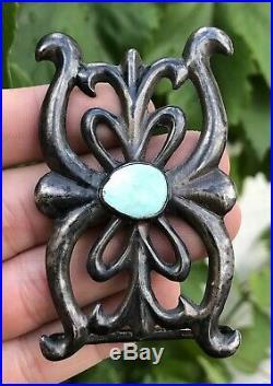 Old Pawn Navajo Blue Gem Turquoise Sterling Silver Sandcast Belt Buckle