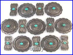Old Pawn Navajo Hand Stamped Sterling Silver Carved Turquoise Concho Belt Set J