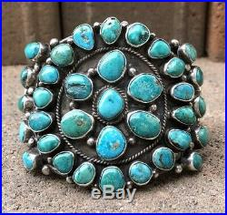 Old Pawn Navajo Petit Point Carico Lake Turquoise Sterling Silver Cuff Bracelet