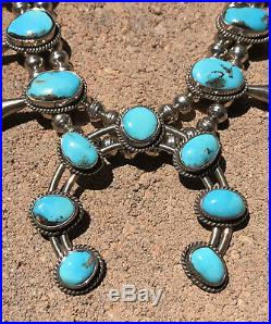 Old Pawn Navajo Sterling Silver Bisbee Turquoise Squash Blossom Necklace 25