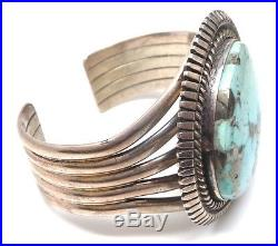 Old Pawn Navajo Sterling Silver Blue Mountain Turquoise Bracelet