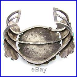 Old Pawn Navajo Sterling Silver Petit Point Turquoise Cluster Cuff Bracelet G AA