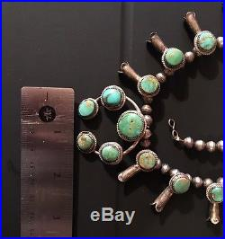 Old Pawn Navajo Sterling Silver Turquoise Squash Blossom Naja Necklace