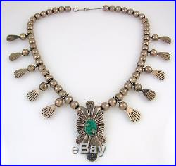 Old Pawn Navajo Sterling Silver & Turquoise Squash Blossom Necklace RS BXX