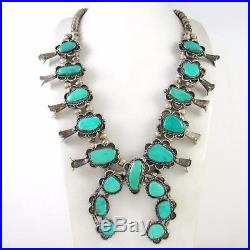 Old Pawn Navajo Sterling Silver & Turquoise Squash Blossom Necklace RS RX
