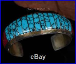 Old Pawn Navajo Turquoise & Syn. Sea Coral FLUSH Set Sterling Silver Bracelet