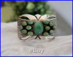 Old Pawn Sandcast Sterling Silver Navajo AE Turquoise Cuff Bracelet 71.6g
