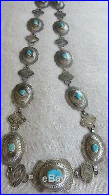 Old Pawn Vintage Concho Buckle Turquoise/sterling necklace signed by Artist R. R