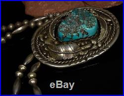 Old Pawn Vintage Navajo HUGE TURQUOISE Sterling Silver Bolo Necklace