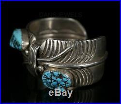 Old Pawn Vintage Navajo Men's HEAVY Sterling NATURAL NUGGET Turquoise Bracelet