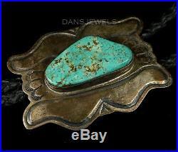 Old Pawn Vtg Navajo Arts & Crafts Guild Polished Boulder Turquoise Sterling Bolo