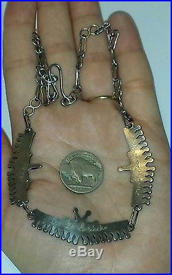 Old Pawn Zuni Made Needlepoint Turquoise & Sterling Silver Necklace17LSigned