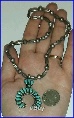 Old Pawn Zuni Petite Point Turquoise & Sterling Silver Squash Blossom Necklace