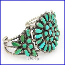Old Pawn Zuni Sterling Silver & Petit Point Turquoise Cluster Cuff Bracelet G BM