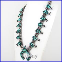 Old Pawn Zuni Sterling Silver Snake Eye Turquoise Squash Blossom NecklaceG EI