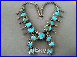 Old Southwestern Indian Navajo Turquoise Sterling Silver Squash Blossom Necklace