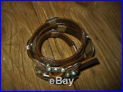 Old Stone Turquoise Concho Leather Bracelet Handmade for Ralph Lauren / 1980's