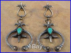 Old Style Navajo Sterling Silver & Turquoise Naja Earrings