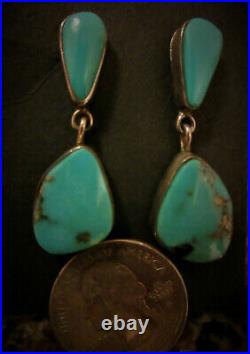 Old Vintage NAVAJO Gem Quality Mined Blue Turquoise 925 Sterling Silver Earrings