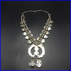 Old Zuni DAN SIMPLICIO Sterling Silver TURQUOISE CORAL Squash Blossom Necklace
