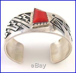 PHILBERT POSEYESVA Hopi Handmade Sterling Silver Coral Overlay Cuff Bracelet J