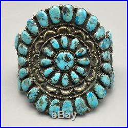 Pair of Vintage Turquoise & Sterling Cluster Bracelets Matching Set