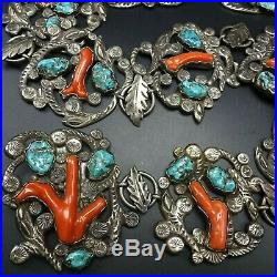 RARE Museum Quality DAN SIMPLICIO BELT Sterling Silver TURQUOISE & BRANCH CORAL