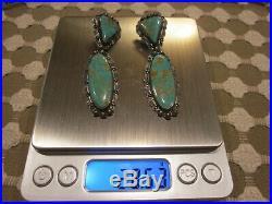 Rare Vintage NAVAJO Sterling Silver GREEN TURQUOISE 2.75 Long Dangle Earrings