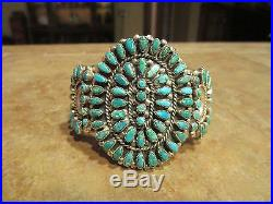SPLENDID Old Pawn Navajo Sterling Silver PETIT POINT Turquoise CLUSTER Bracelet