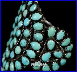SUBSTANTIAL! Old Pawn Navajo TURQUOISE Sterling Silver Cluster CUFF Bracelet