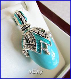 Sale! Gorgeous Russian Sterling Silver With Genuine Turquoise Egg Pendant