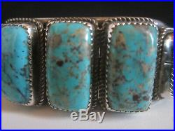 Signed Native Vintage Pawn Navajo Sterling Silver Turquoise Cuff Row Bracelet