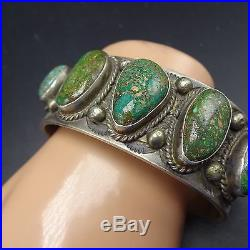 Signed Vintage NAVAJO Sterling Silver & Rare TYRONE TURQUOISE Cuff BRACELET 104g