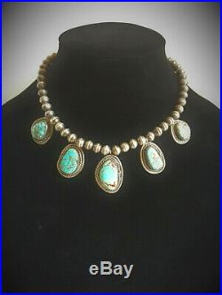 Southwestern Native American Indian # 8 Turquoise Sterling Silver Bead Necklace