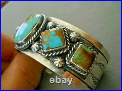 Southwestern Native American Navajo Turquoise Row Sterling Silver Cuff Bracelet