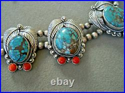 Southwestern Native American Turquoise Coral Sterling Silver Bead Necklace