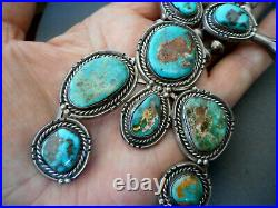 Southwestern Navajo Royston Turquoise Sterling Silver Squash Blossom Necklace